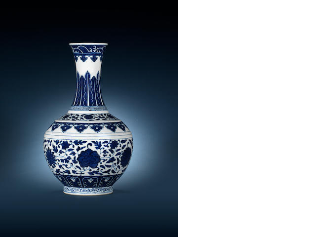 A blue and white bottle vase Guangxu six-character mark and of the period