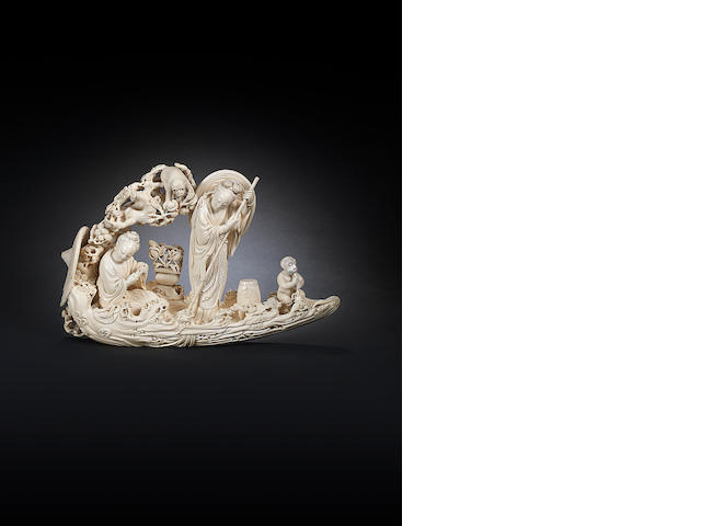 An ivory carving of a raft Late 19th/ early 20th century