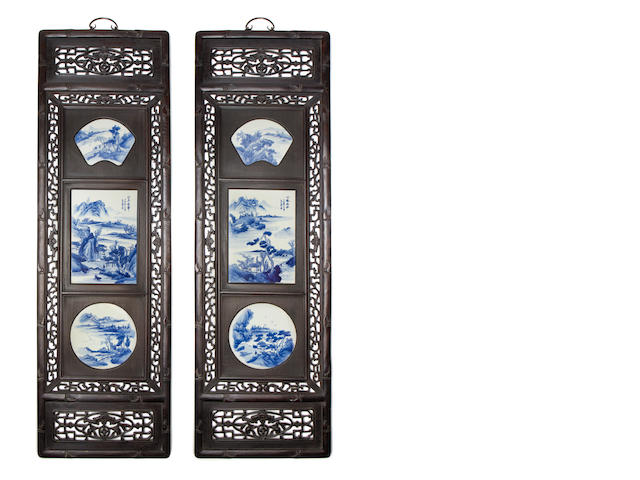 A pair of wood-mounted blue and white panels Qing Dynasty or later