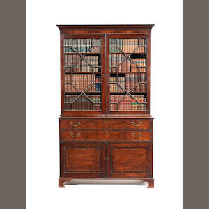 A George III mahogany secretaire bookcase attributed to Gillows