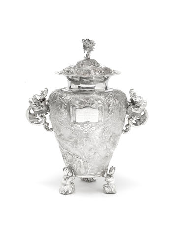A very fine Chinese silver documentary presentation vase and cover Impressed Hung Chong & Co and De Chang marks, late 19th century