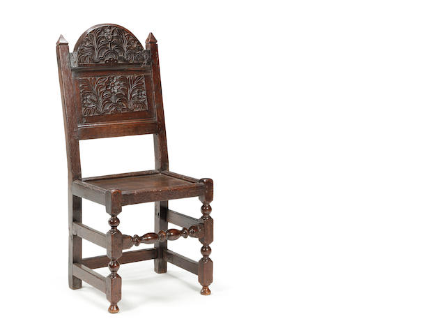 A Charles II oak back stool Southern Lancashire/North Cheshire, circa 1680