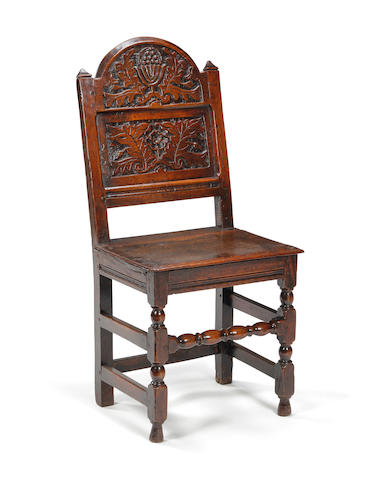 A Charles II oak backstool Southern Lancashire/North Cheshire, circa 1680