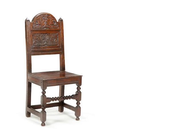 A Charles II oak back stool Southern Lancashire/North Cheshire, circa 1680