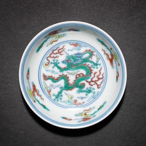 A small doucai saucer dish Yongzheng six-character mark