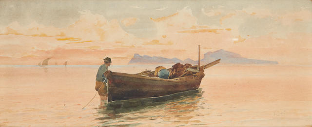 Vincenzo Loria (Italian, 1850-1939) Fishermen off the Italian coast