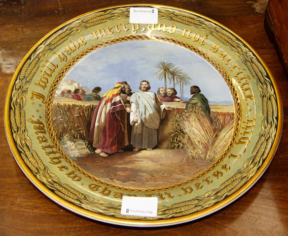 A F & R Pratt & Co Fenton plate, transfer printed by H Warren after J Austin, with a depiction from Matthew Chap XII verse 1 - III 'I will have mercy and not sacrifice', 33cm.
