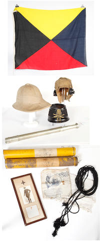 A Belgian Other Ranks Shako, a British Army Other Ranks Khaki Tropical Helmet, a Khaki coloured linen Flying Helmet & Earphones, Two RAF Box Kites Royal Naval Telescope Etc., Various Pairs of Binoculars