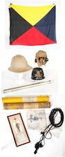 A Belgian Other Ranks Shako, a British Army Other Ranks Khaki Tropical Helmet, a Khaki coloured linen Flying Helmet & Earphones, Two RAF Box Kites Royal Naval Telescope Etc., Various Pairs of Binoculars