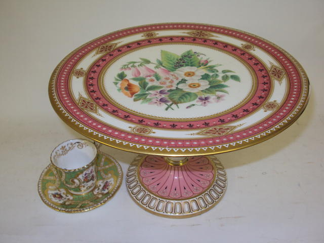 A Minton-style tazza and a Coalport cup and saucer