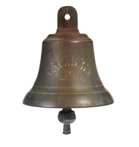 A bronze ship's bell, SS Calabria 1922. 9ins. (23cm)diam.