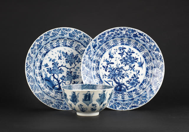 A blue and white bowl Chenghua six-character mark