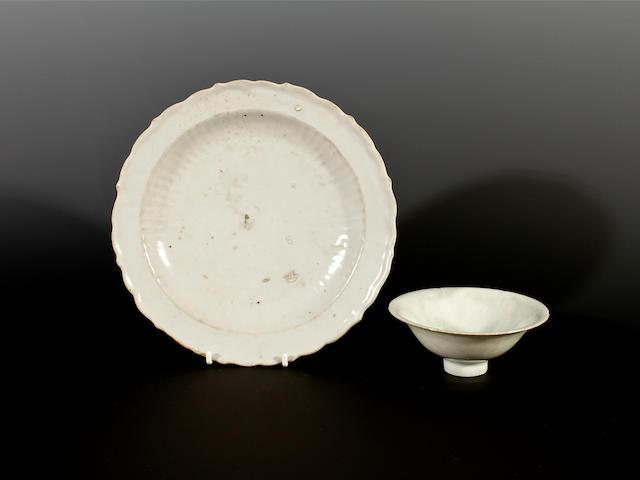 A shu fu dish and a qingbai bowl