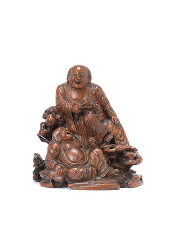 A bamboo carving of the Hehe Erxian Qing Dynasty