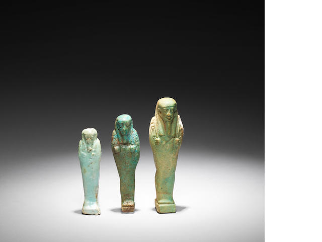 Three Egyptian glazed composition shabtis