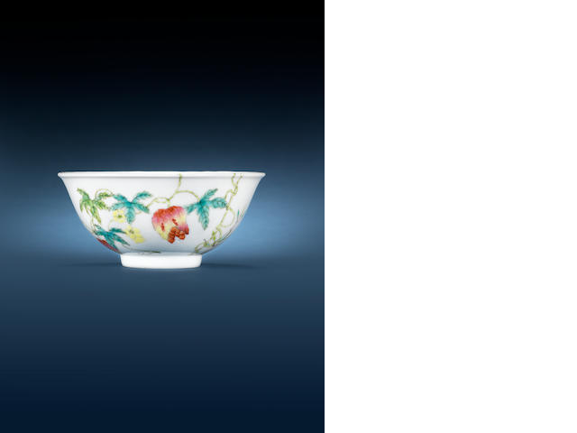 A famille rose 'fruit and seed' bowl Guangxu six-character mark and of the period