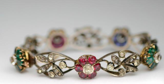 A 19th century vari gem-set bracelet