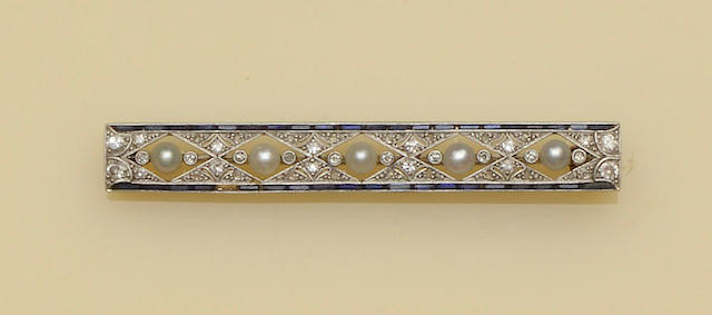 A half pearl, sapphire and diamond bar brooch