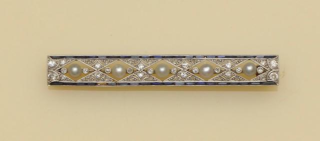 A half pearl, sapphire and diamond bar brooch