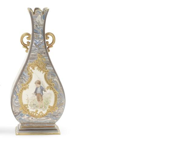 Ada Dennis for Doulton Lambeth a Rare 'Marqueterie' Vase with Child Panels, circa 1890