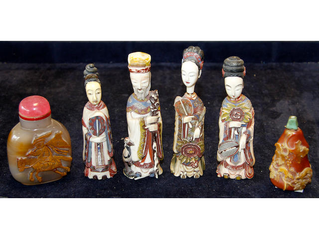 An interesting collection of eleven various Chinese snuff bottles