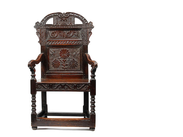 An unusual Charles II oak panel back open armchair Possibly South Yorkshire, circa 1680