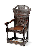 An unusual Charles II oak panel back armchair Possibly South Yorkshire, circa 1680