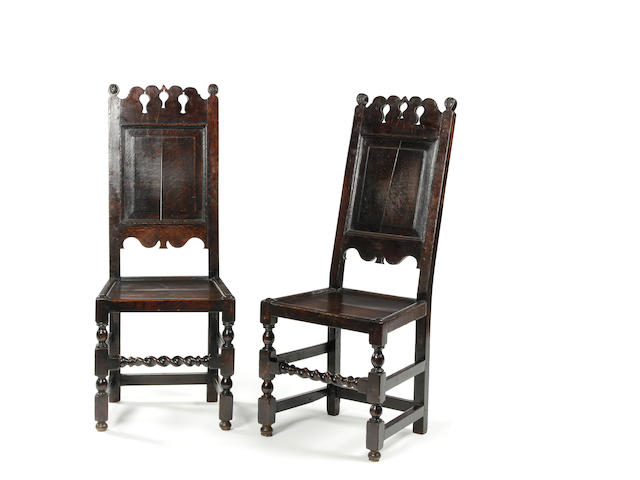 An unusual pair of late 17th century oak backstools Circa 1690