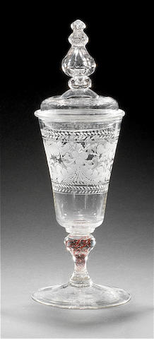 A Bohemian engraved goblet and a cover, circa 1720