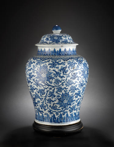 A large blue and white baluster vase and cover, cracked and repaired Qing Dynasty