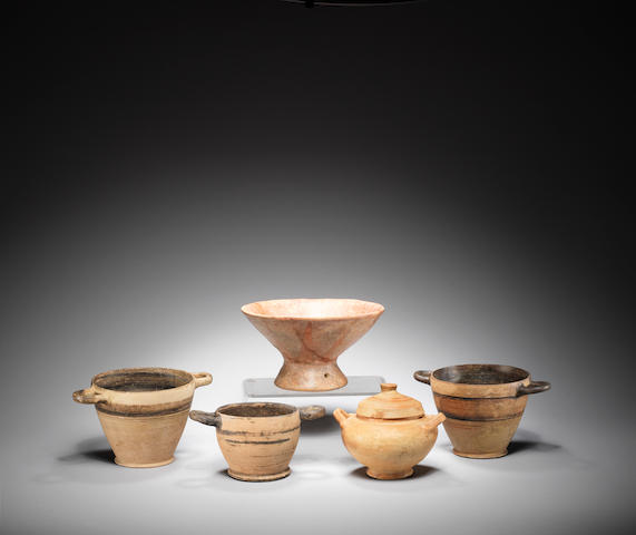 Four Early Classical terracotta vessels  and a terracotta bowl, 4