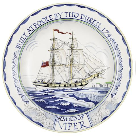 Arthur Bradbury for Poole Pottery 'H.M Sloop Viper' a Maritime Charger, 1965