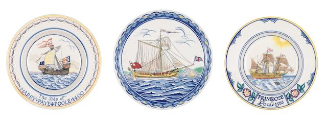 Poole Pottery Three Sailing Ship Dishes, 1960's