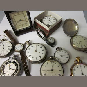 A silver pair cased verge pocket watch,  (Qty)