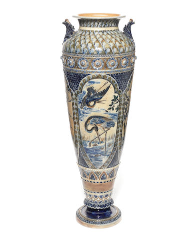 Martin Brothers A Substantial Floor Vase with Panels of Birds, 1876