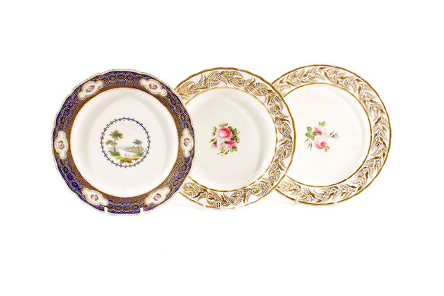 A Derby plate by Zachariah Boreman and two Derby plates of pattern 365, circa 1790 and 1820