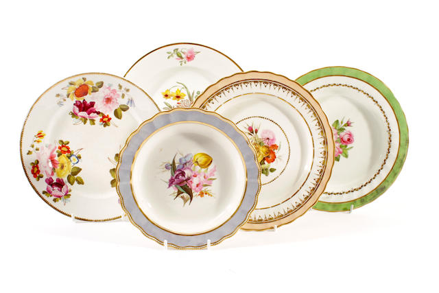 Five Derby plates, early 19th century