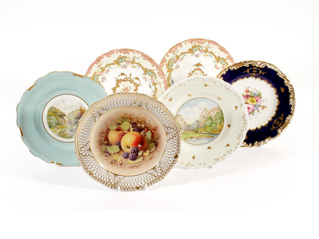 A Derby, King Street, plate, and five Royal Crown Derby plates, 20th century