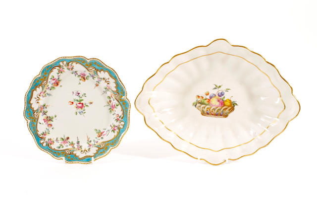 A Chelsea-Derby plate and a Derby dish, late 18th Century,
