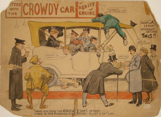 'Crowdy Car Show', an original cartoon illustration for the 1910 Manchester Motor Show,
