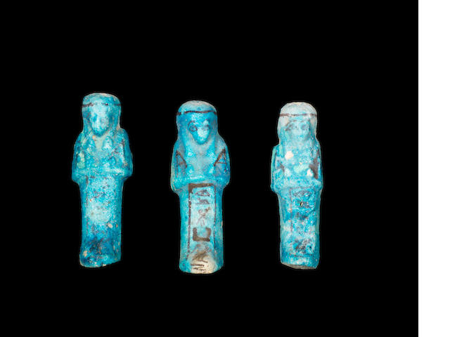 Three Egyptian glazed composition shabtis 3