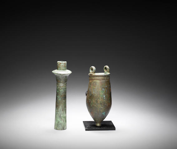 An Egyptian bronze situla  and an Egyptian bronze fitting 2