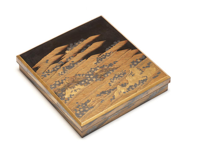 A roiro lacquer suzuribako (writing box) and cover 18th century