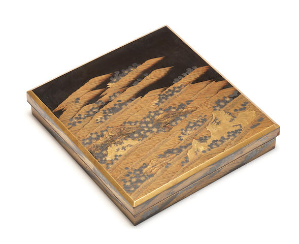A roiro lacquer suzuribako (writing box) and cover 18th century