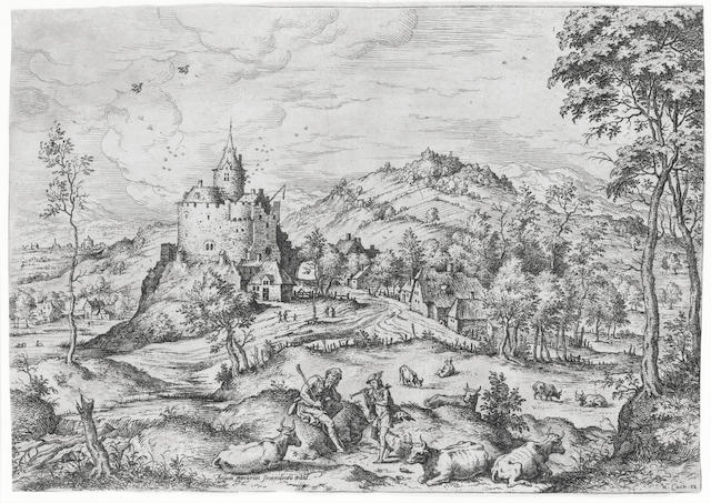 Hieronymous Cock (Flemish, 1507-1570) Landscape with Mercury and Argos Etching, 1588, on laid, trimmed to the  platemark, 227 x 322mm (8 7/8 x 12 5/8in)(PL)