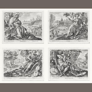 Philipp Galle (Dutch, 1537-1612) The Four Seasons  The set of four engravings, after Marten de Vos, on laid, 102 x 132mm (4 x 5 1/4in)(each plate)