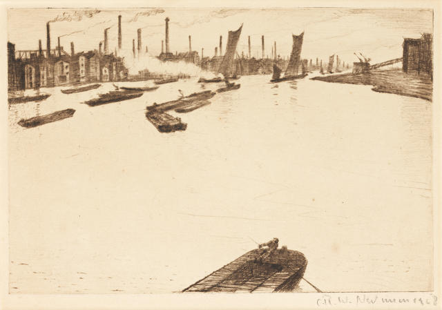 Christopher Richard Wynne Nevinson A.R.A. (British, 1889-1946) Greenwich Reach Etching, 1928, on watermarked laid, signed and dated in pencil, with margins, 150 x 225mm (5 7/8 x 8 7/8in)(PL)