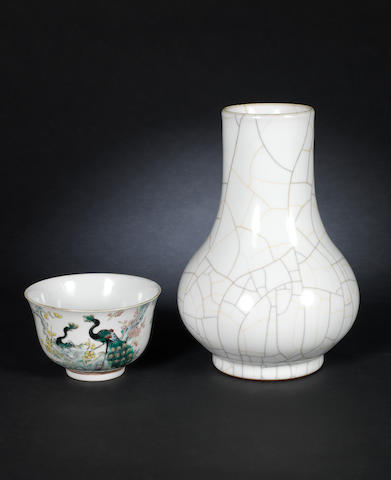 A famille rose bowl and a Guanyao style vase