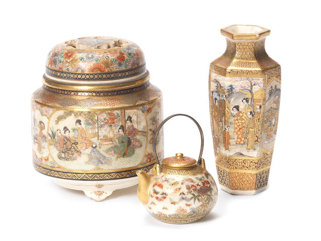 An hexagonal bowl with central dragon figure and four pictorial panels; together with a vase and cover and a teapot.
