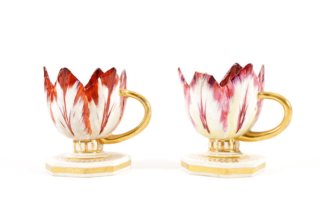 A pair of Derby tulip cups, circa 1815
